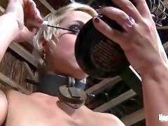 Blond slave girl is eager to get some pain BDSM