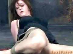 Bound MILF in black skirt learns discipline in dungeon BDSM