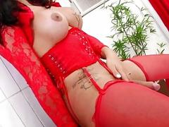 Enchanting shemale with beautiful round breasts enjoys jerking her prick