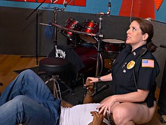 Black dude bangs two horny policewomen in his recording studio