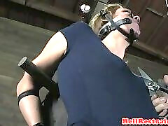 MILF babe gets restrained and whipped