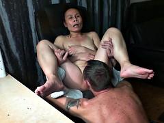 Asian woman licked untill orgasm
