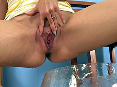 pretty gently plays rubber toy with her pussy