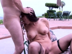 Juicy slut in fishnets loves to get pounded