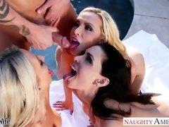 Splendid wives Emma Starr, Jessica Jaymes and Nikki Benz sharing