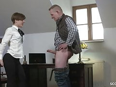 OLD HUGE DICK MEN SEDUCE SKINNY TEEN to Fuck in Office