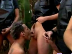 Rough shemale cops give dude their batons to suck
