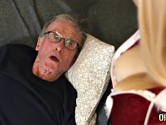 70 year old man fucks 18 year old girl she swallows his cum