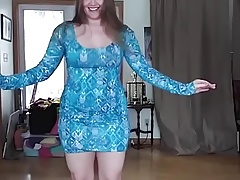Pawg in blue dress dancing to arabic music