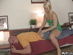 Blonde cheater rides cock after massage