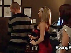 Swingers get with other couples in an orgy in The Red Room