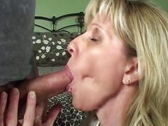 A horny mature blonde rides her 19 year old boy