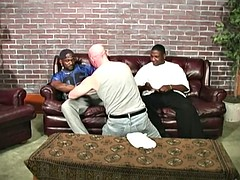bald white man is fucked by two black men