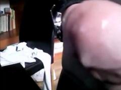 Gay amateur voyeur sucks on straight cock