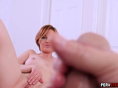 Stepson masturbated in front of a busty MILF stepmom