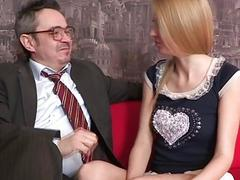 Playgirl is giving aged teacher a blowjob session
