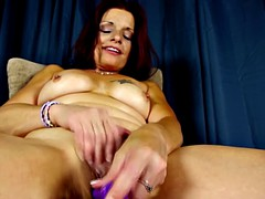 Using mature us a purple toy