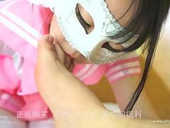 chinese girl in mask homemade