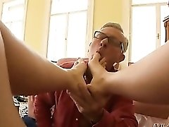 After foot fetish play she sucks him off
