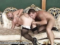 Chubby granny finds his young cock hot