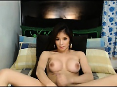 Gorgeous Shemale masturbates until she cums