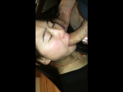 Asian chick blowing cock until he cums