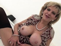Adulterous english milf lady sonia shows off her enormous ti