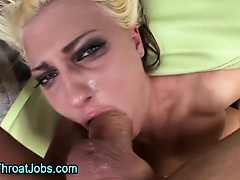 Babe gags on fetish cock during deep throat