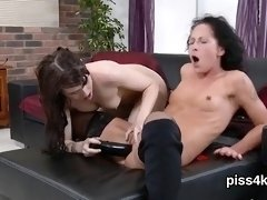 Innocent nympho is geeting peed on and ejaculates wet pussy3