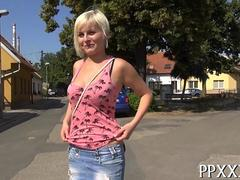 Short haired euro blonde fucked outside in a field for cash