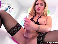 Trans fucked her juicy ass by dildo