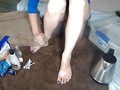Soaking Feet Pedicure Feet worship non nude