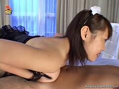 asian slut sucks and titty fucks a hard cock