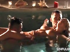Red-Hot wifey Sienna gets two stiffys in the pool