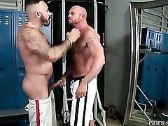 Pierced hairy bear is hot as hell in a gay BJ video