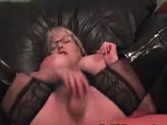 My milf exposed stockings and boots masturbation hot mom