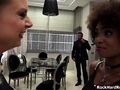 Ebony Luna and Sharon share one big cock