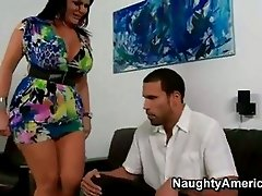 Filthy mistress Angelina Castro pleases her mans pole in her simmering mouth