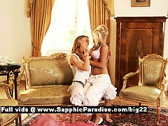 Hailee and Mya retro lesbos kissing and teasing