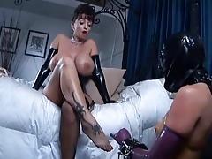 2 busty mistress use lesbian slave
