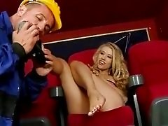 Michelle Moist enjoys hot footsex in cinema
